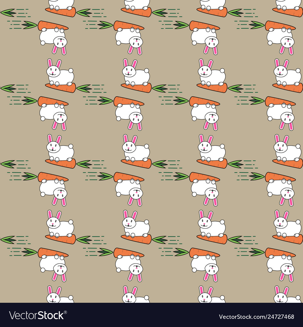 White easter bunny rabbit and carrot seamless