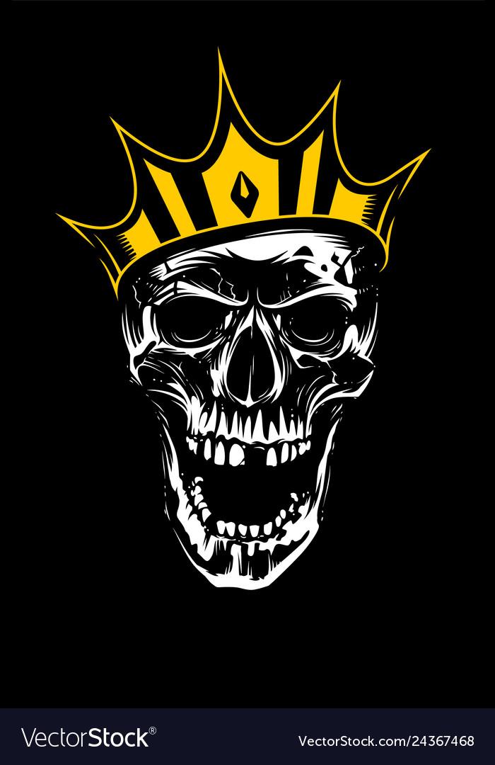 White skull in gold crown on black background