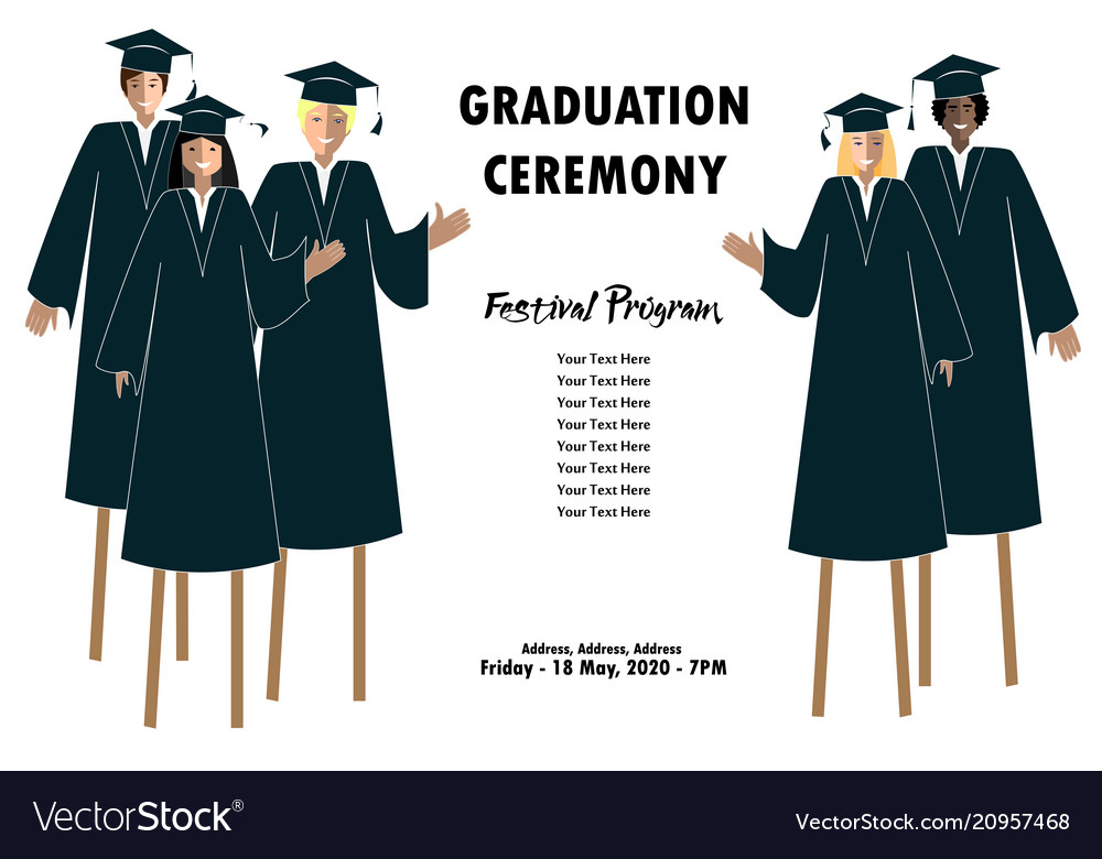 young students guys and girls banner graduation vector image