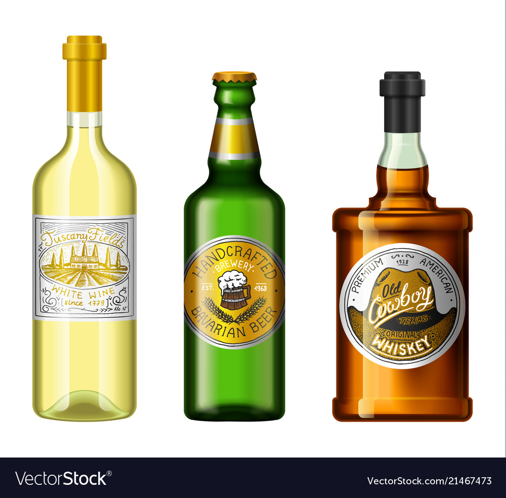 Alcohol drinks in a bottle with different vintage