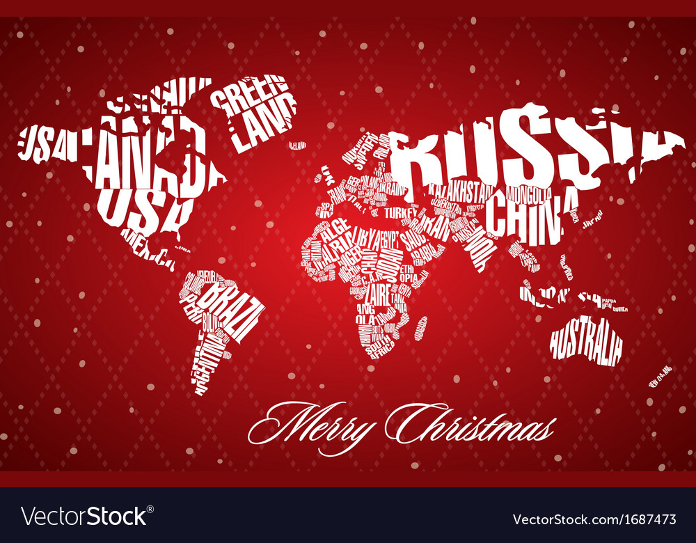 Christmas World Map in Typography