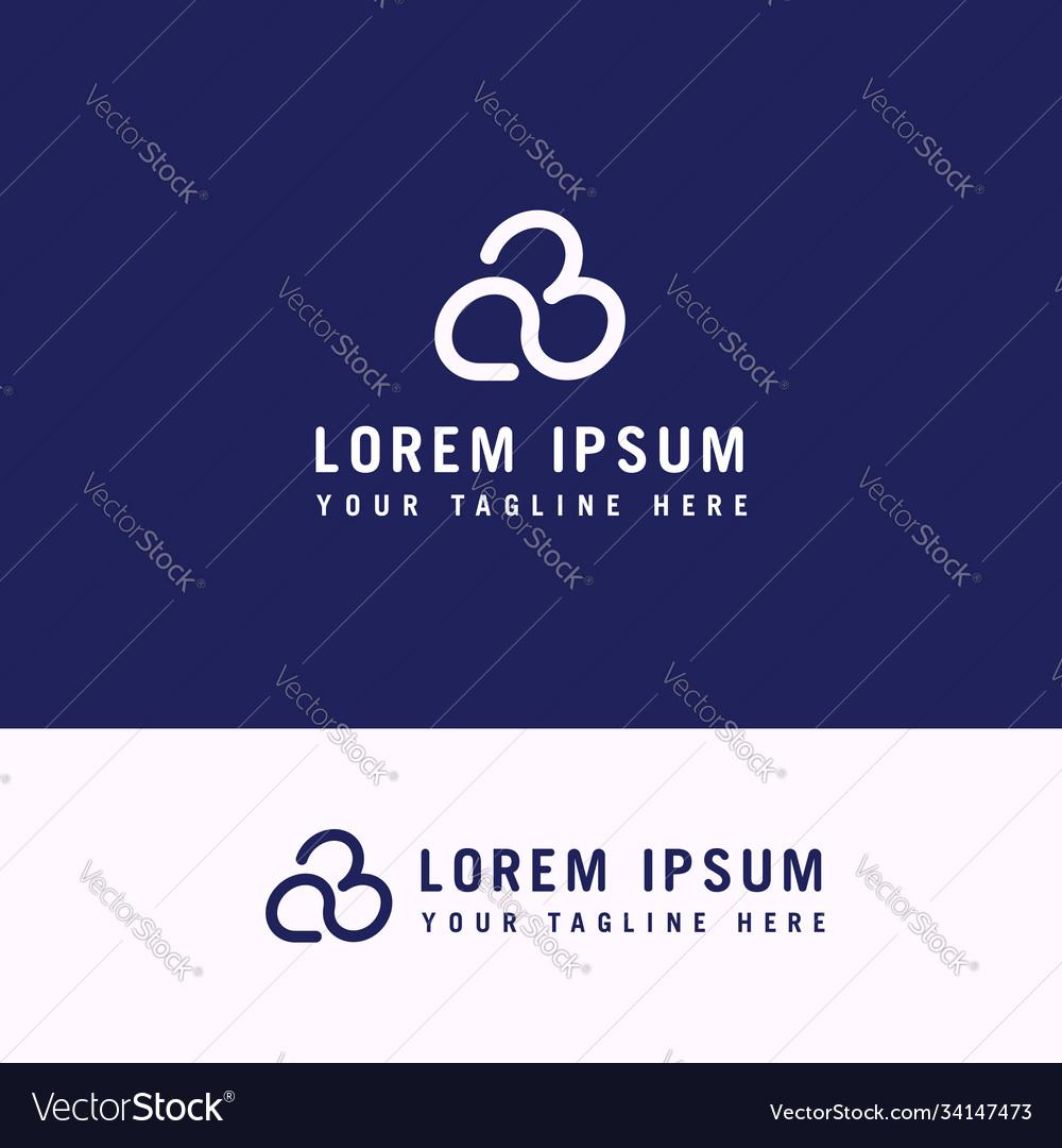 Cloud line letter font b logo design with