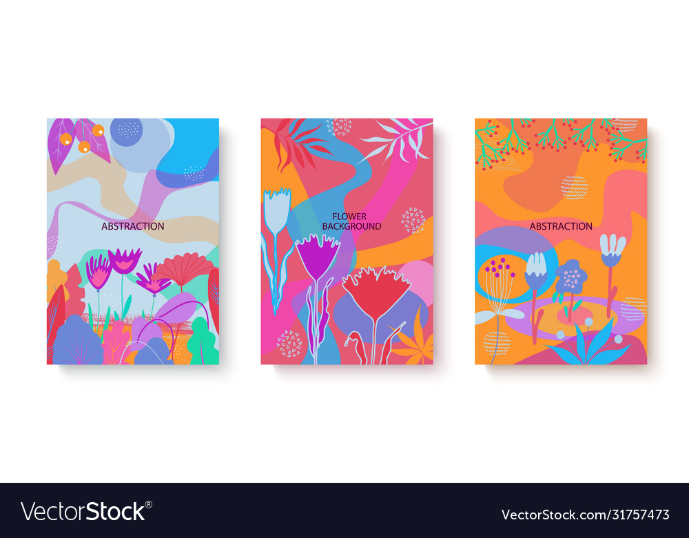 Colorful set abstract cards with flat