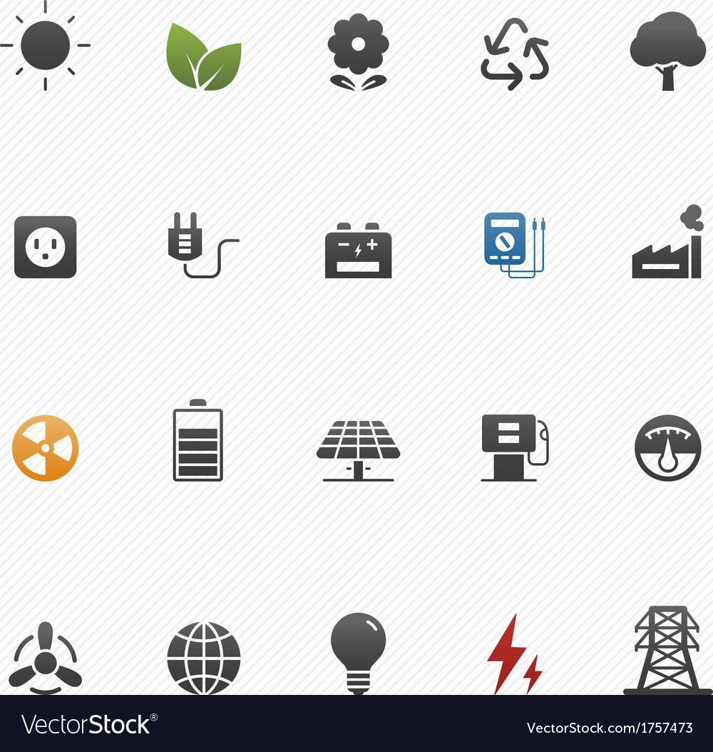 Environment And Power Symbol Icon Set Royalty Free Vector