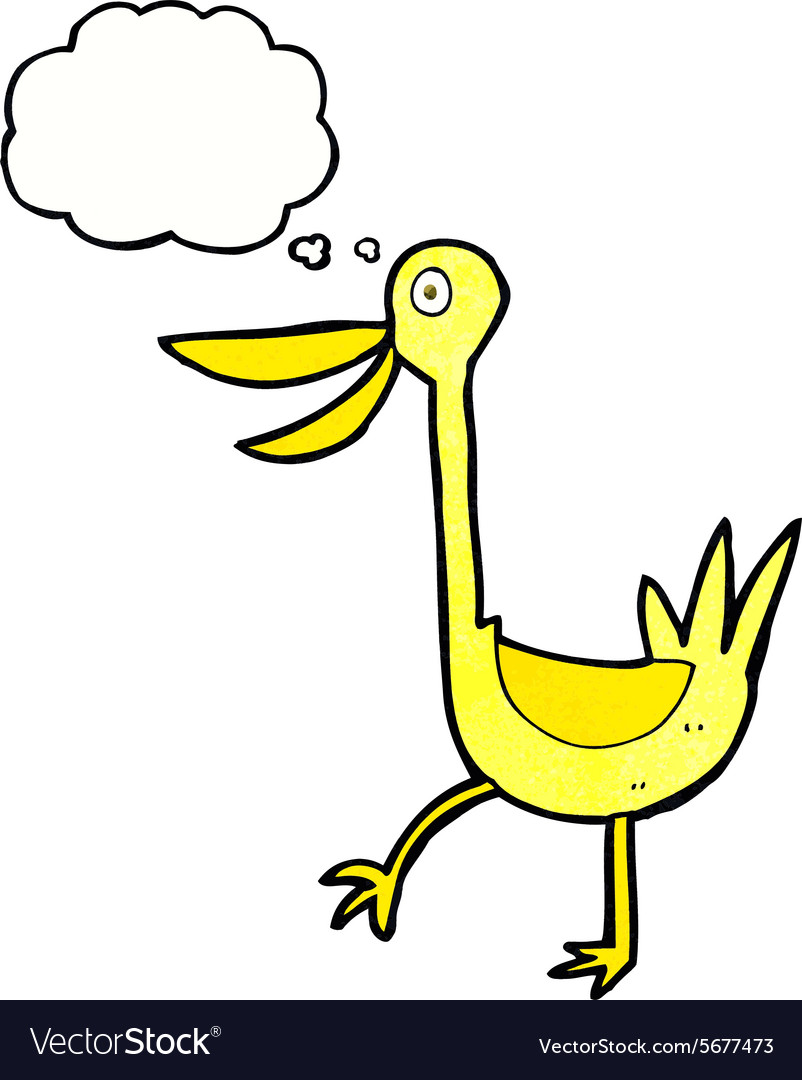 Funny cartoon duck with thought bubble vector image