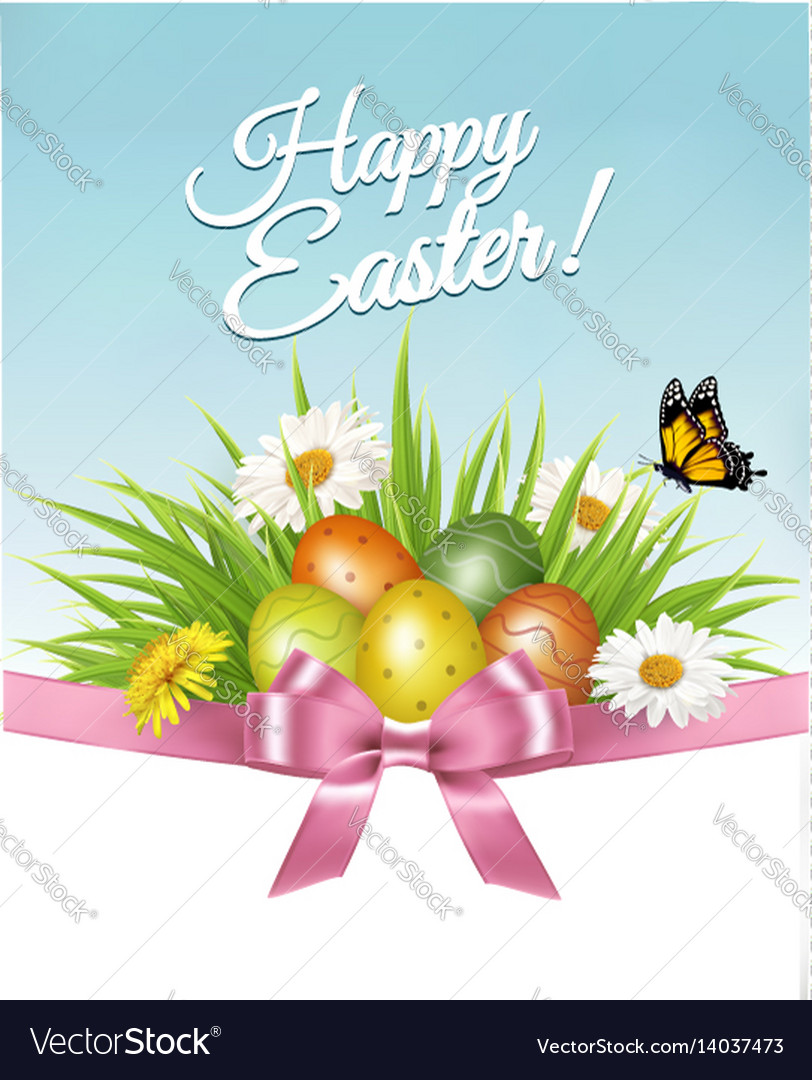 Happy easter background colorful eggs and daisy vector image
