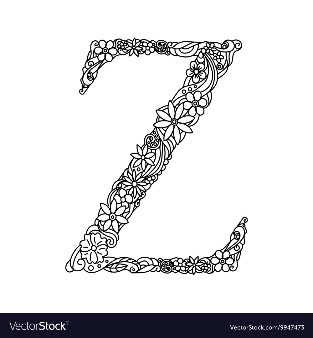 Letter Z coloring book for adults