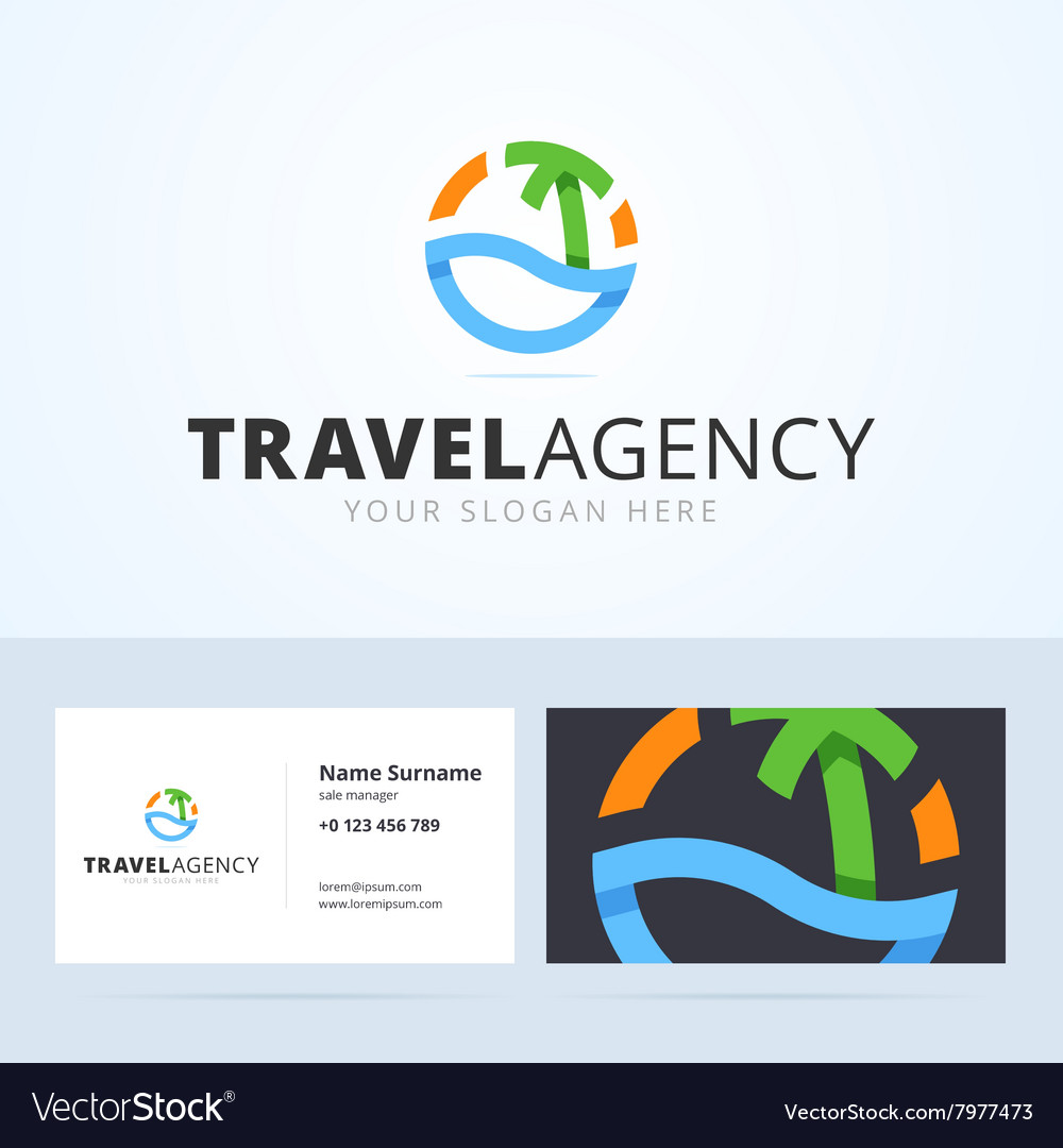 Logo and business card template for travel agency
