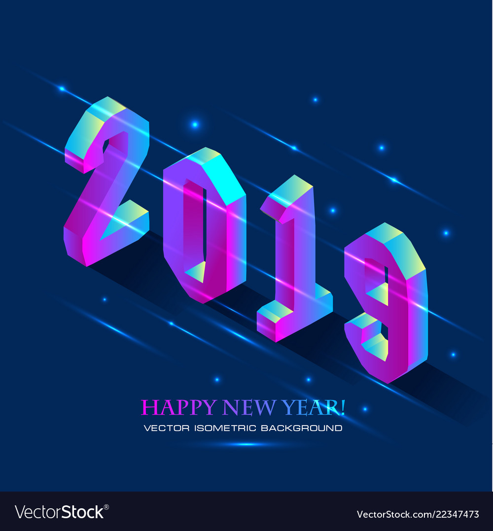 New year 2019 in isometric style isometric