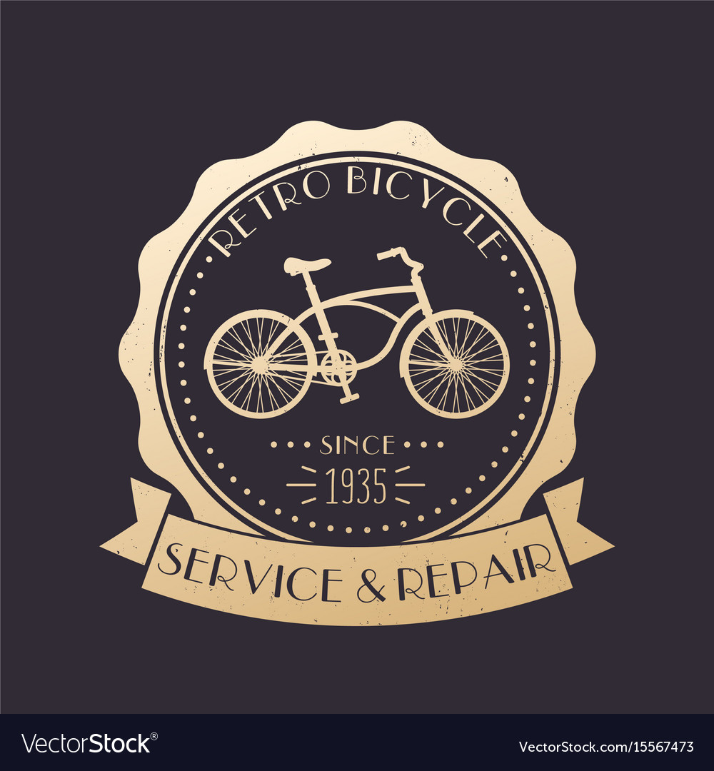 Retro bicycle service and repair vintage logo