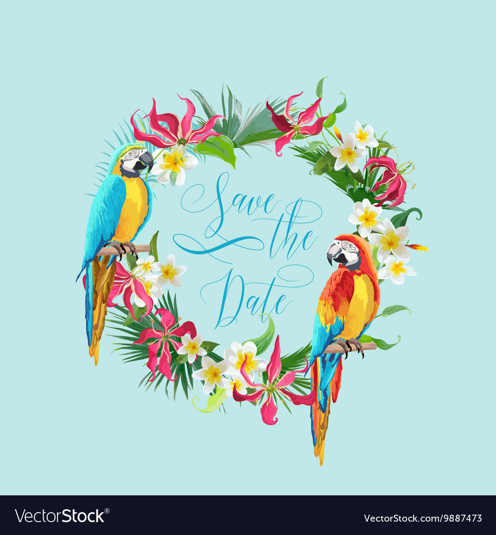 Save the Date Tropical Flowers and Birds Card