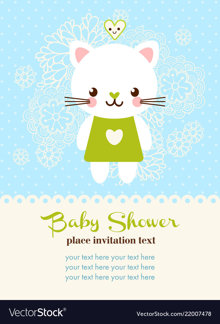 Baby shower invitation card with cat