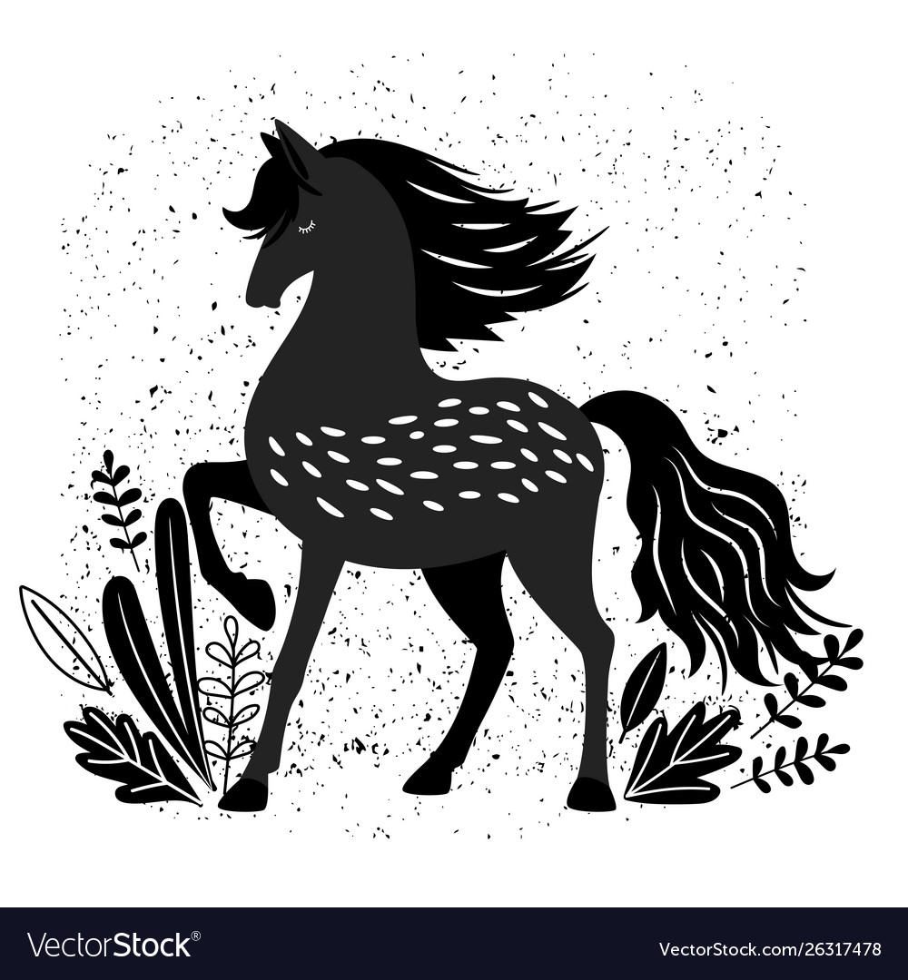 Beautiful Black Horse Isolated Royalty Free Vector Image