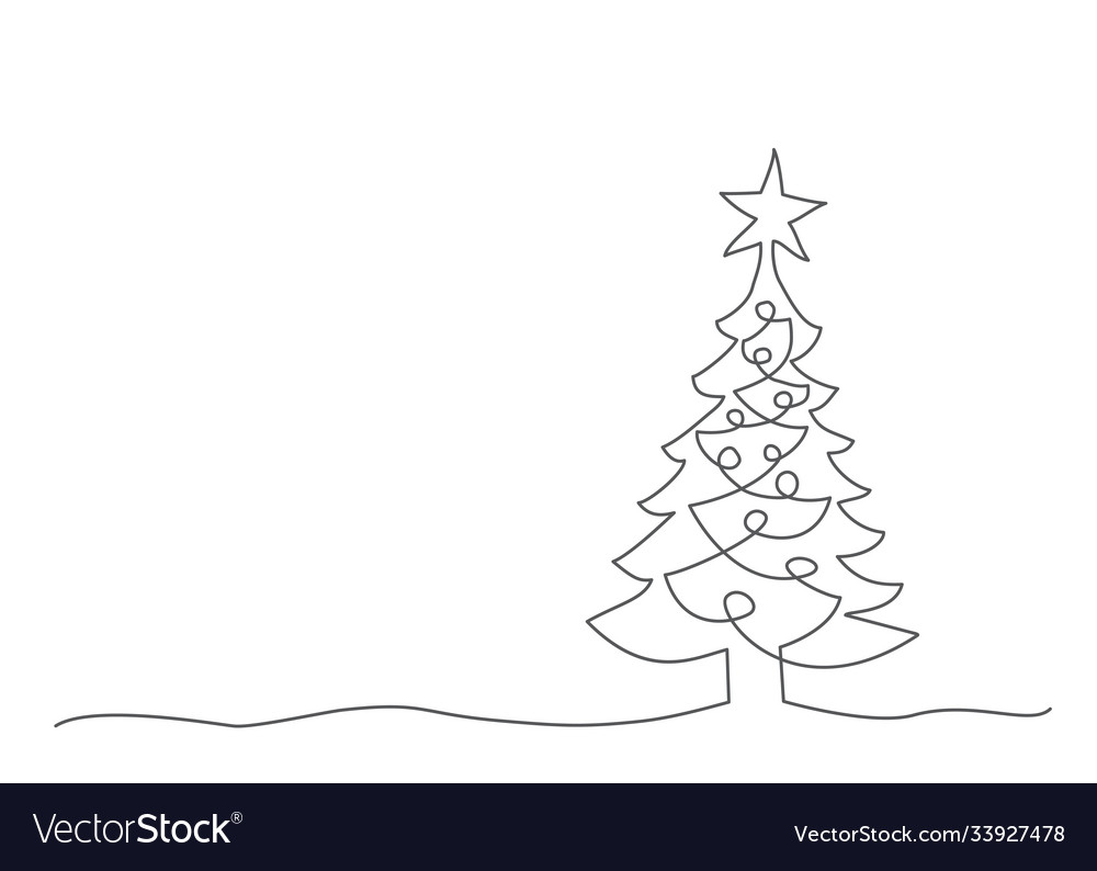 Christmas tree one line drawing on white