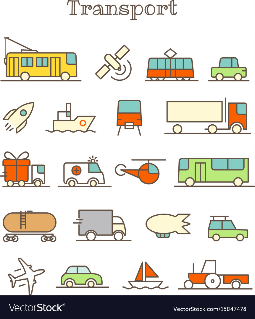 Different thin line color icons set transport vector image