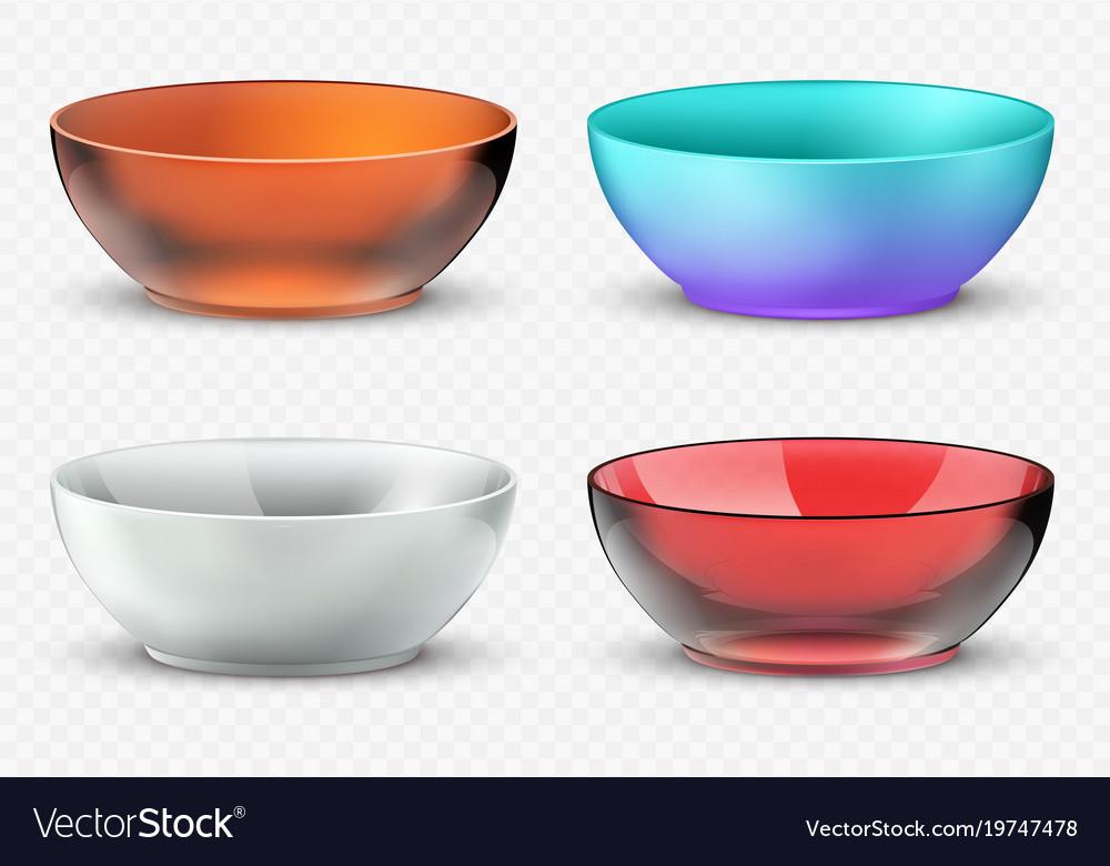 Empty realistic food bowls plastic glass vector image