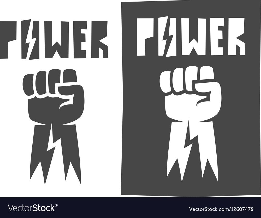 Fist raised up icon black