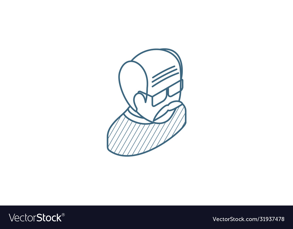 Grandfather avatar old man isometric icon 3d line