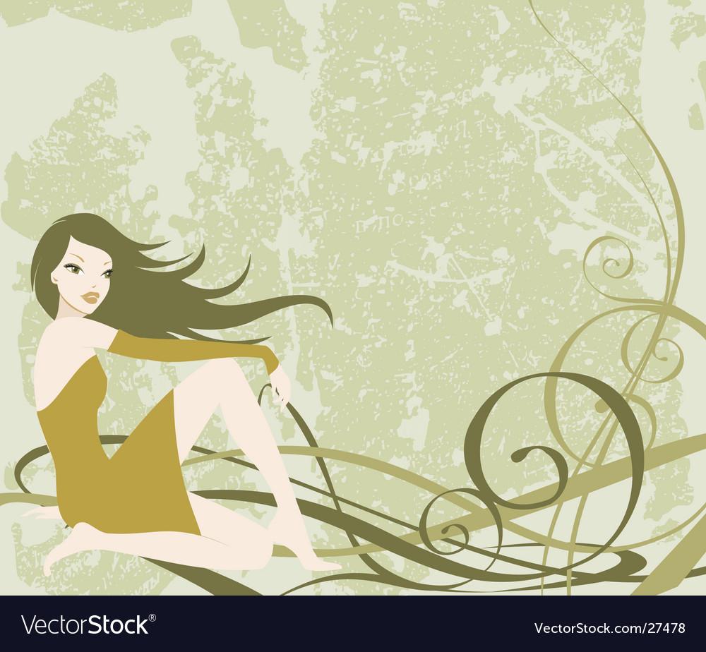 Grunge girl background vector image