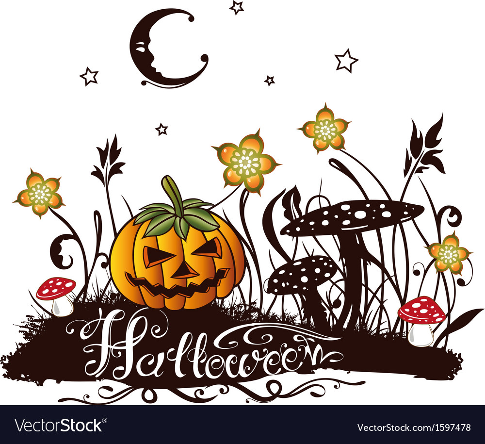 Halloween silhouette with colorful design elements