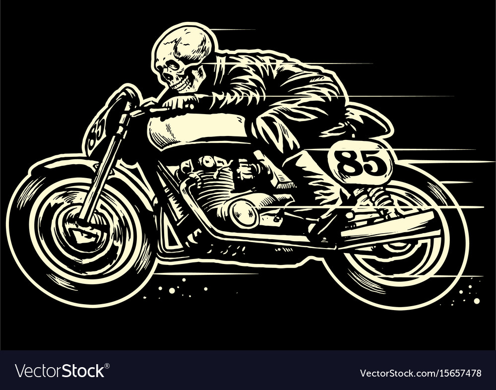 Hand drawing of skull riding vintage motorcycle