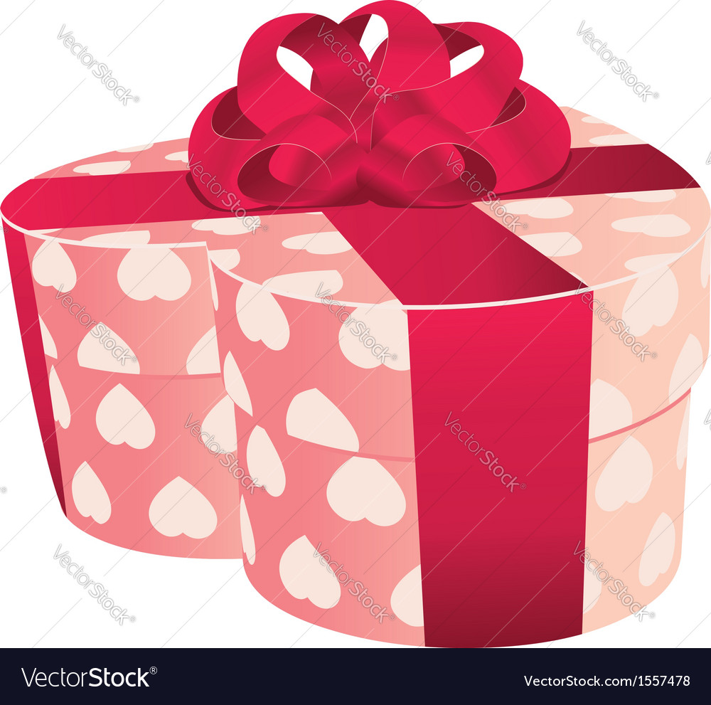 Heart shaped pink gift box Royalty Free Vector Image