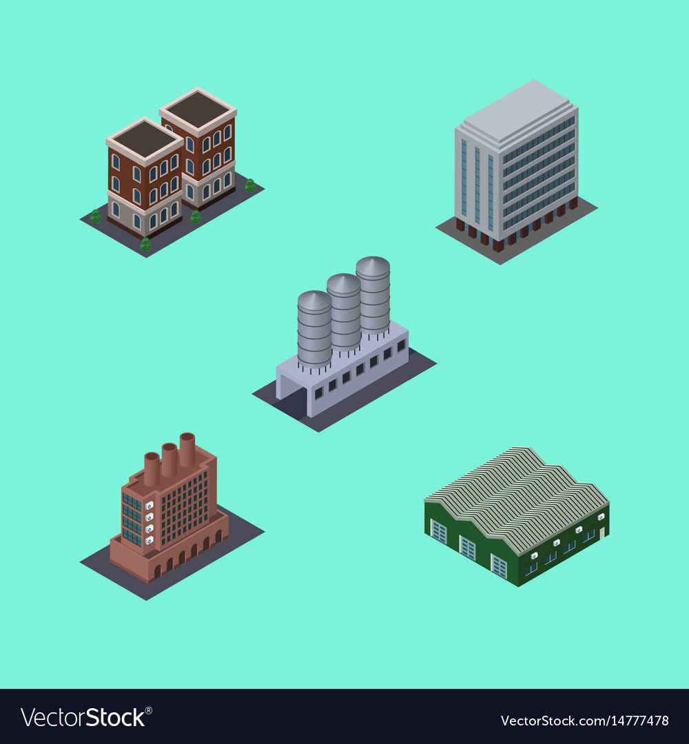 Isometric building set of water storage house