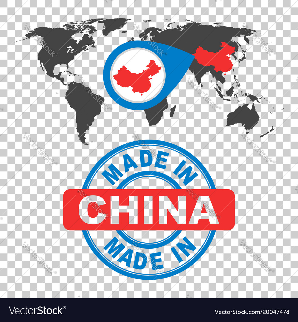 Made in china stamp world map with red country vector image gumiabroncs Images