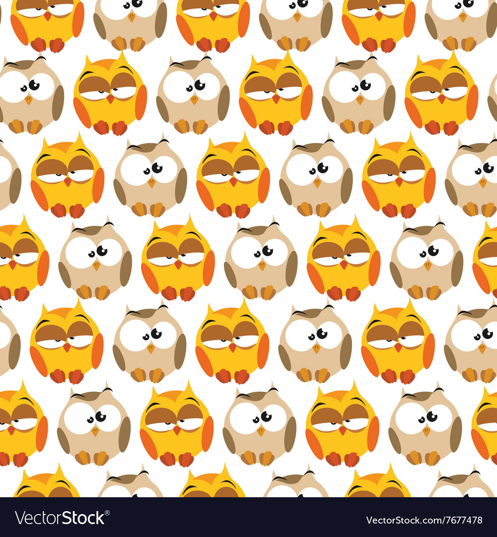 Pattern with cartoon owls