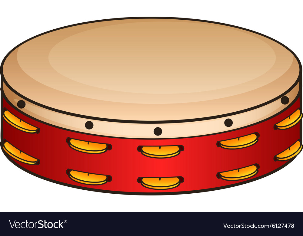 Red tambourine on white vector image