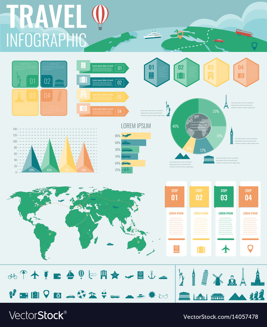 Travel and tourism infographic set with charts