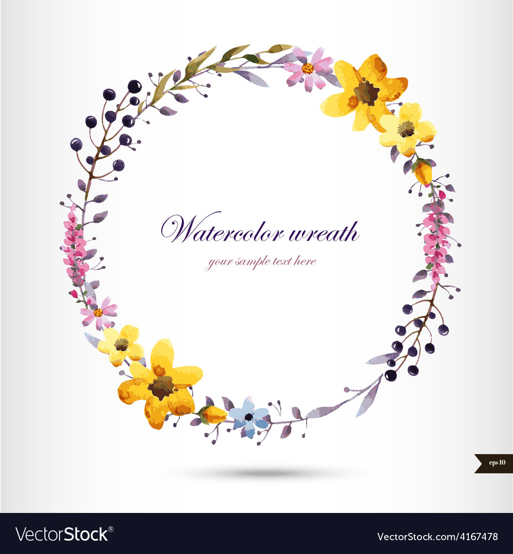 Watercolor wreath with flowersfoliage and branch
