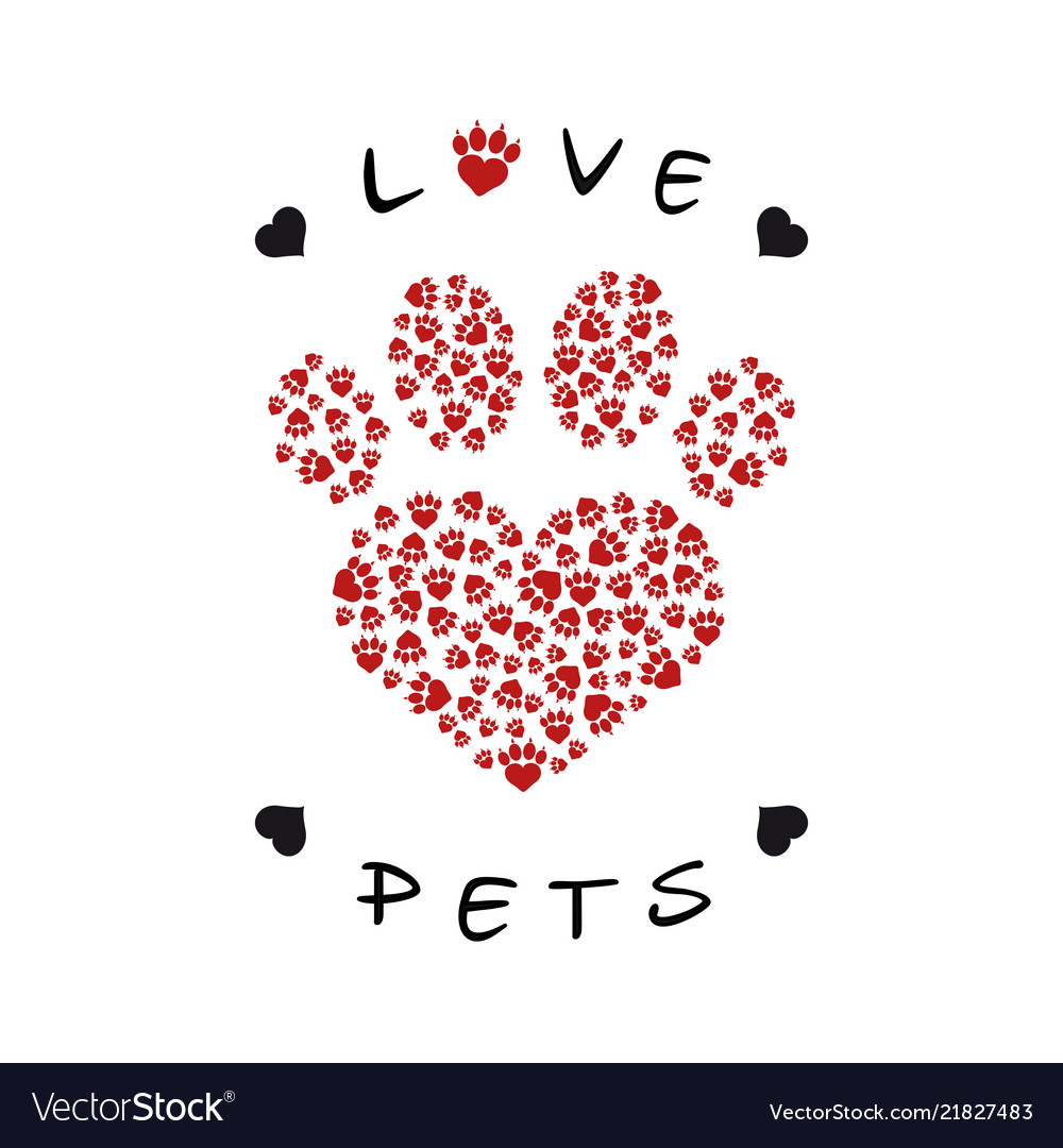 A paw print made with heart shape