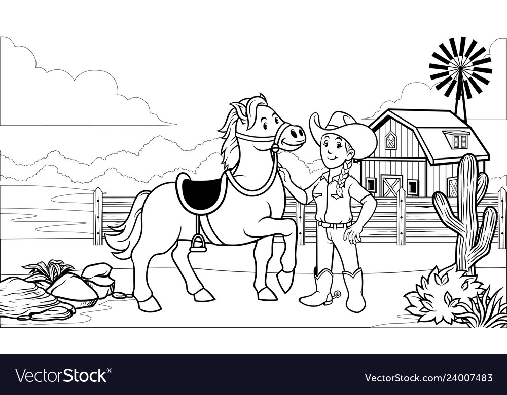 Black And White Coloring Page Happy Cowgirl Vector Image
