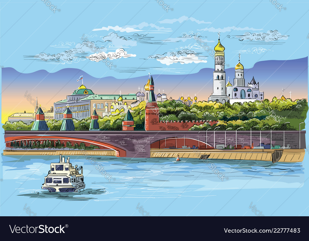 Colorful hand drawing moscow-3
