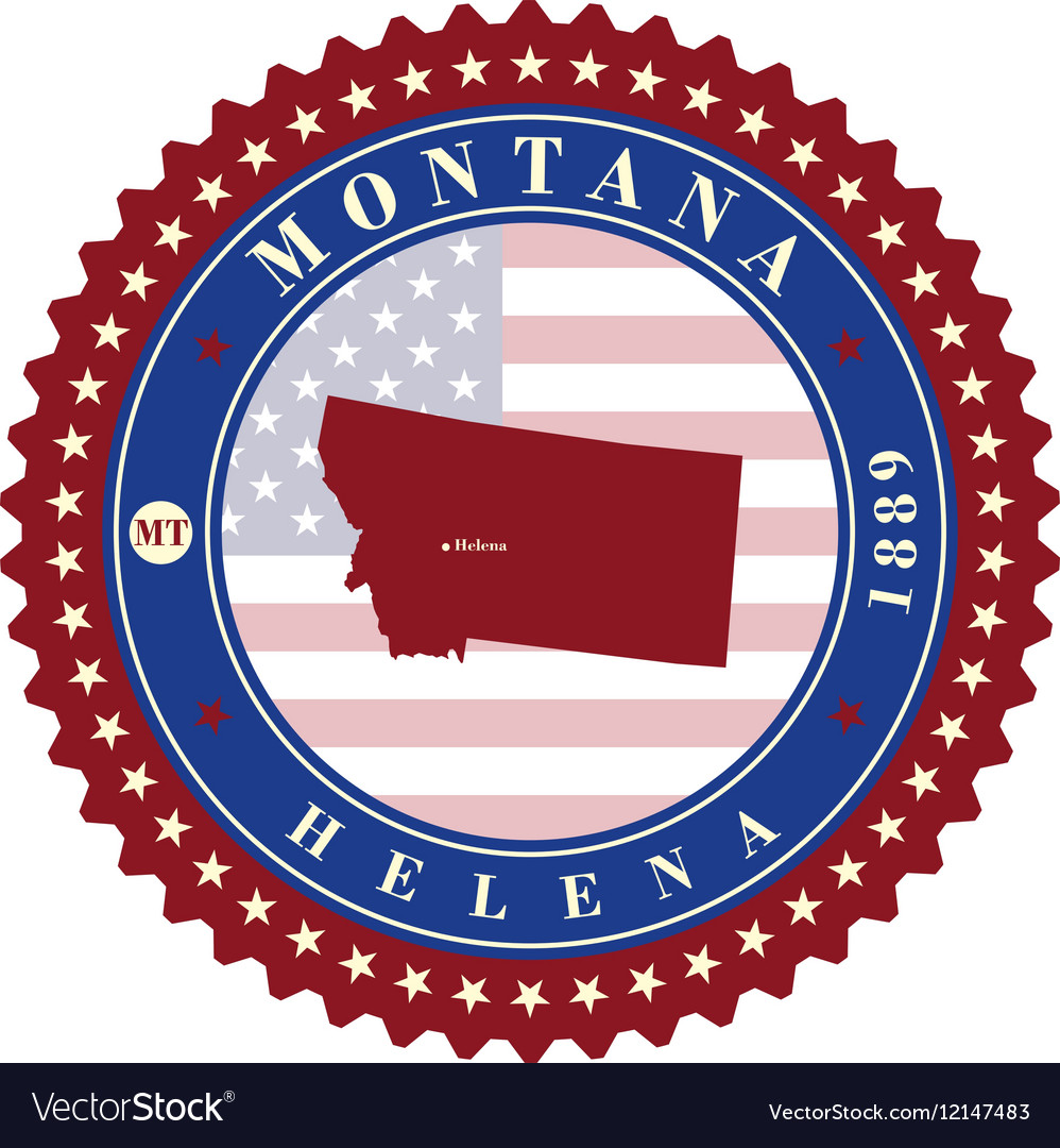 Label sticker cards of State Montana USA