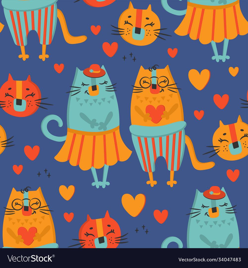 Love cat hand drawn seamless pattern