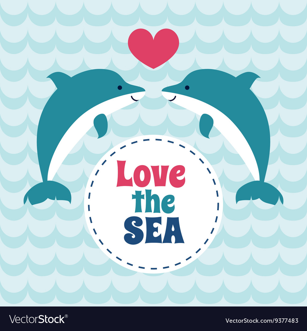 Love the sea summer card with pair of love