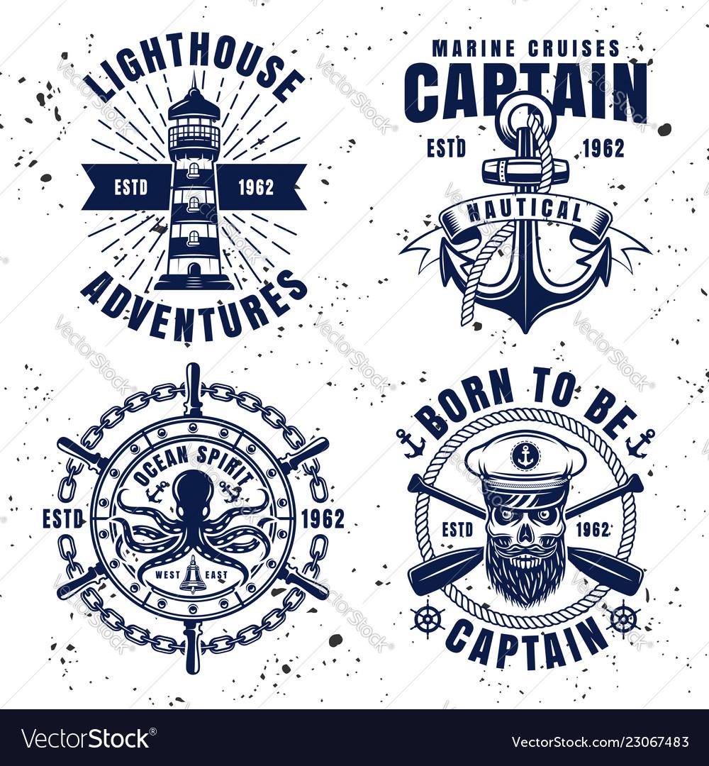 Maritime set emblems in vintage style