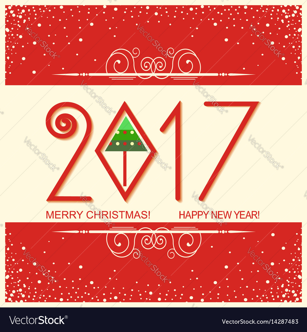Merry christmas and happy new year card with text