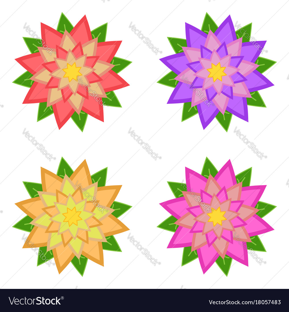 Set Of Red Purple Yellow Pink Flowers Royalty Free Vector