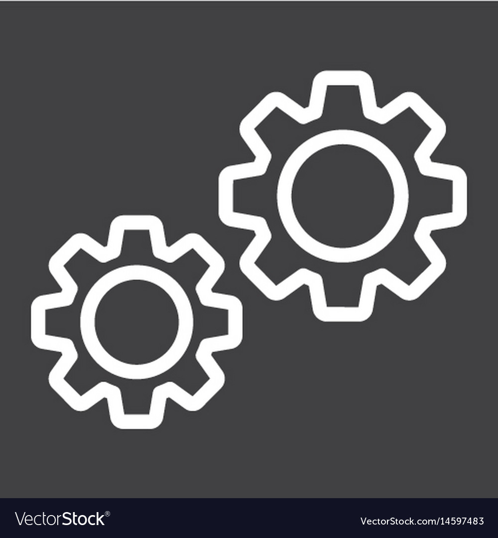 Settings line icon cogwheels and website
