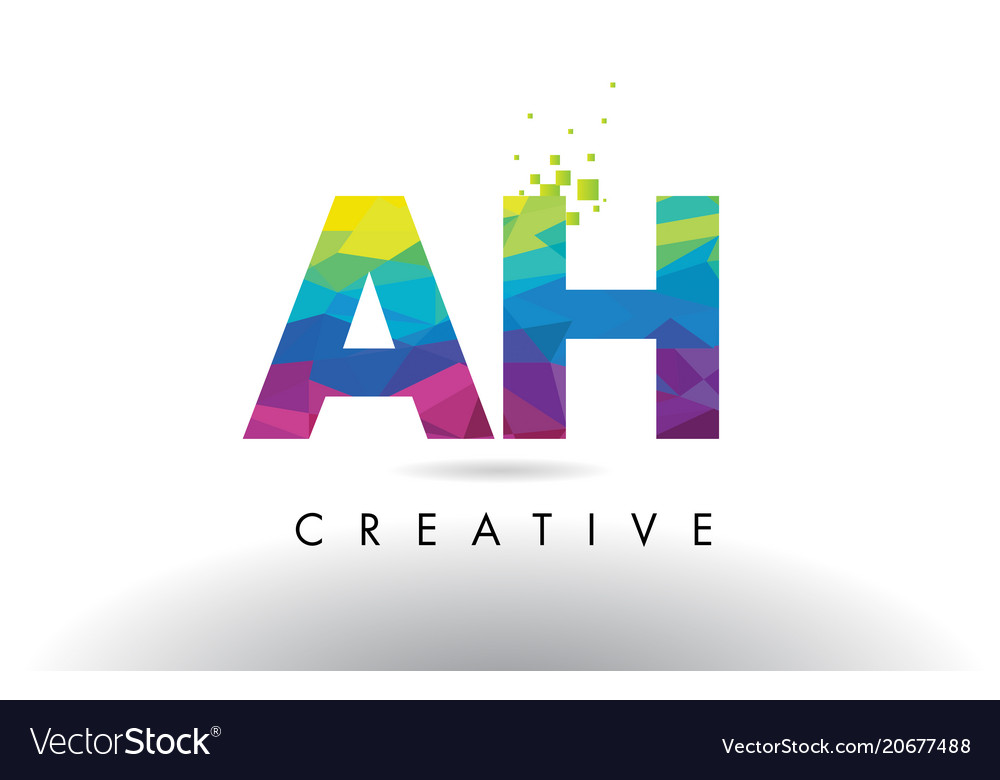 Ah a h colorful letter origami triangles design