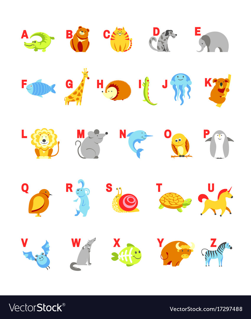 Alphabet cartoon animals with letters for child