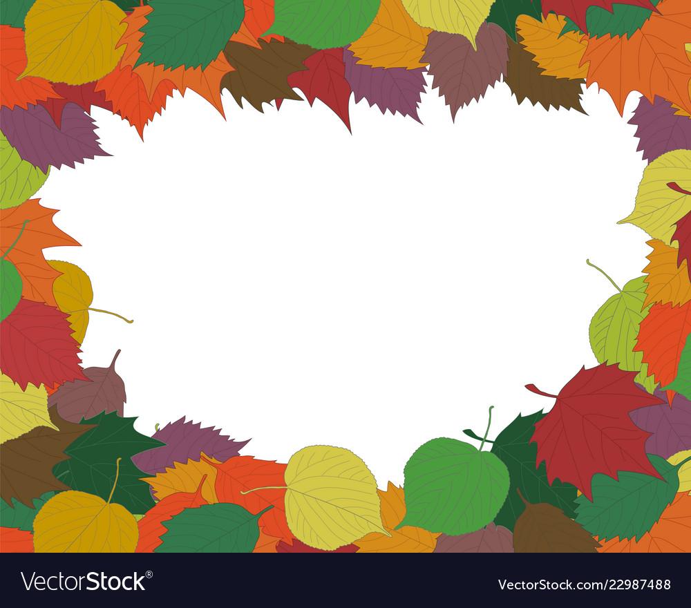 Autumn seasonal background frame or border with