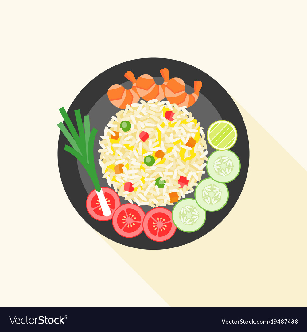 Fried rice with shrimp in thai style vector image