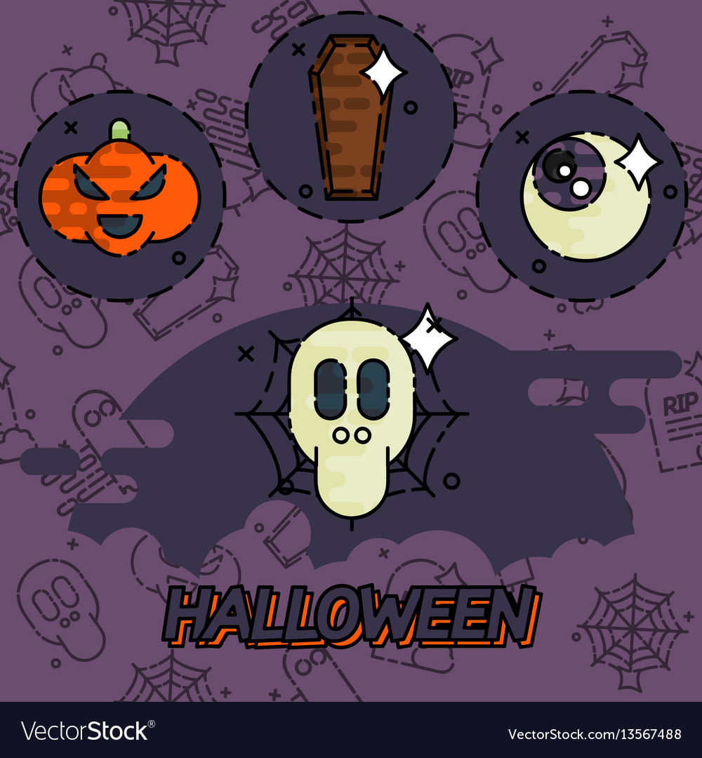 Halloween flat concept icons