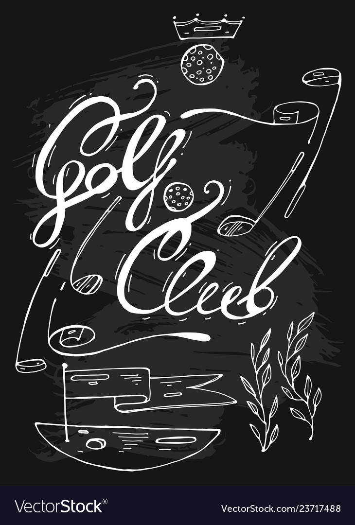 Hand drawn lined graphic of golf