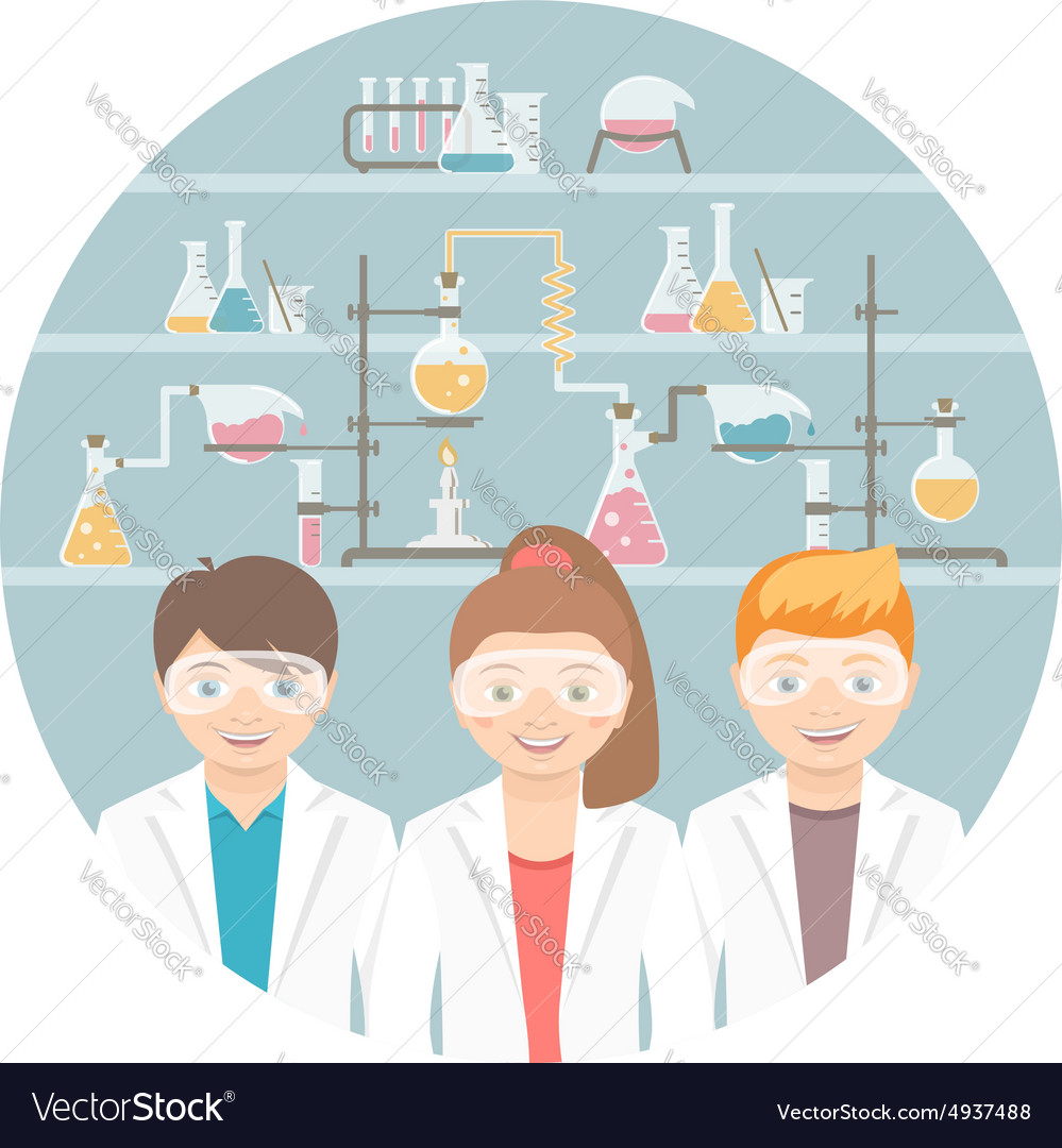 Kids in chemistry class flat education concept