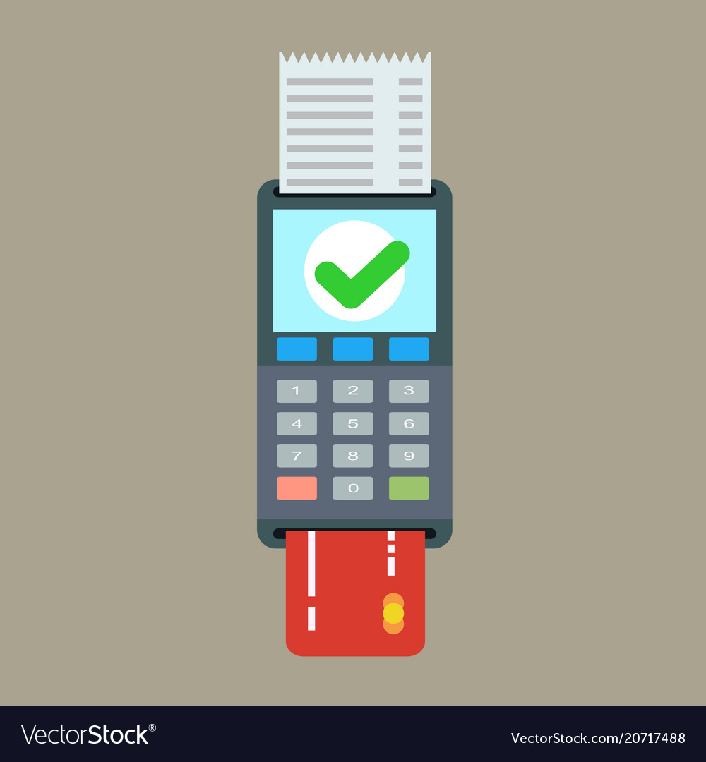 Pos terminal and receipt icon credit card